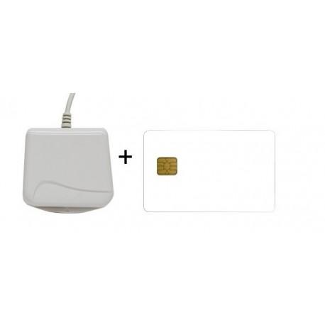 Cryptokit Blanco - Kit Firma Electrónica (Lector + Tarjeta Criptográfica Blanca)